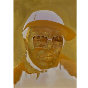 """A technically challenging piece to execute, for many years I have wanted to paint a picture just using various shades of gold. It was fitting to paint producer and rapper Lewis Parker who is known as 'The man with the golden sound'. I entered this image for the BP Portrait Awards 2014, not selected for the final exhibition but they liked something about it as it was short listed in the first round!"""